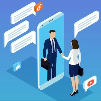 Concepto isométrico de diseño plano con un hombre y una mujer dándose la mano a través de la pantalla del móvil para las conexiones de red móvil empresarial, gente de marketing por correo electrónico charlando