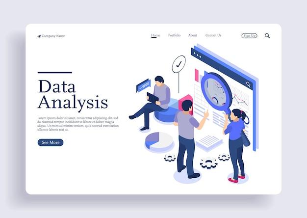 Concepto isométrico de diseño plano moderno de análisis de datos para sitio web y página de destino de sitio web móvil