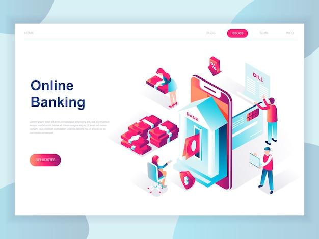 Concepto isométrico de diseño plano moderno de banca en línea