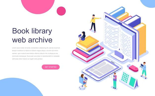 Concepto isométrico de diseño plano moderno de la biblioteca de libros