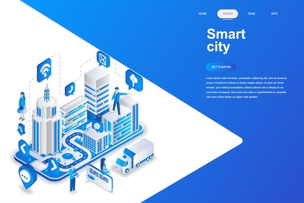 Concepto isométrico de diseño plano moderno ciudad inteligente.