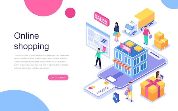 Concepto isométrico de diseño plano moderno de compras en línea