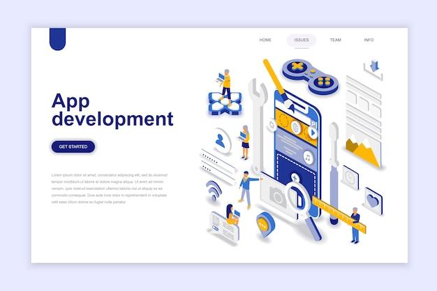 Concepto isométrico del diseño plano moderno del desarrollo de la aplicación.