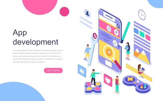 Concepto isométrico de diseño plano moderno de desarrollo de aplicaciones