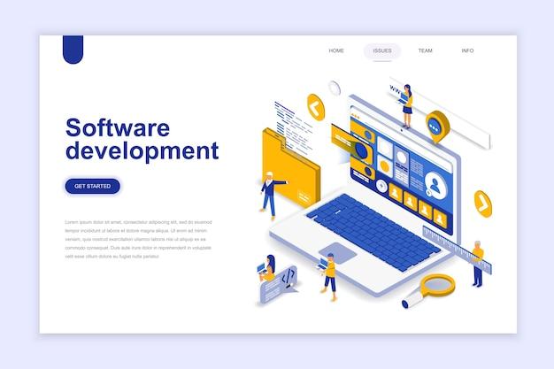 Concepto isométrico del diseño plano moderno del desarrollo de software.