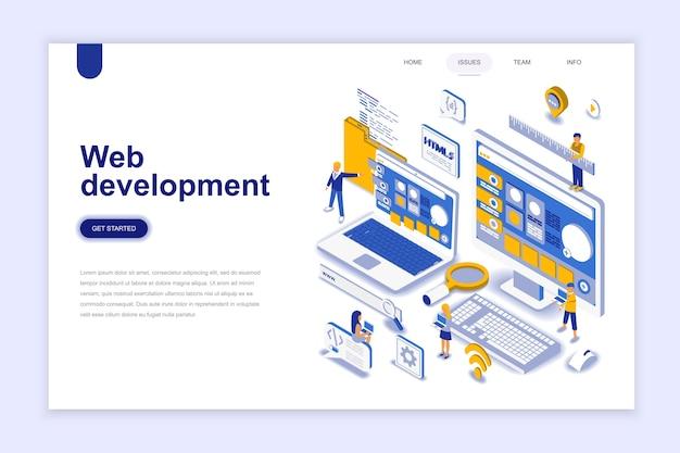 Concepto isométrico del diseño plano moderno del desarrollo web.