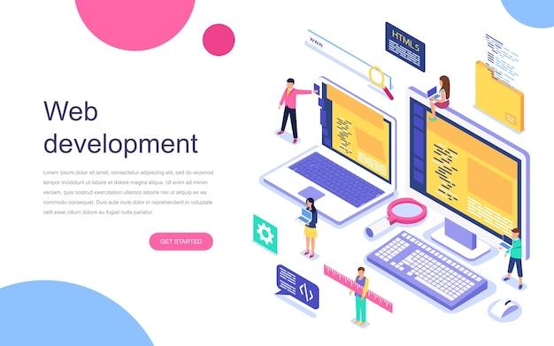 Concepto isométrico de diseño plano moderno de desarrollo web