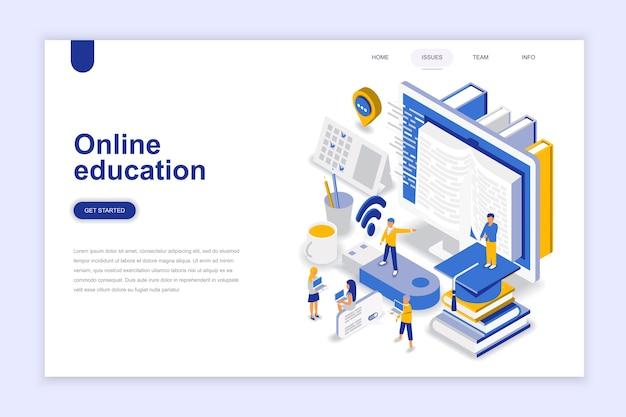 Concepto isométrico del diseño plano moderno de la educación en línea.