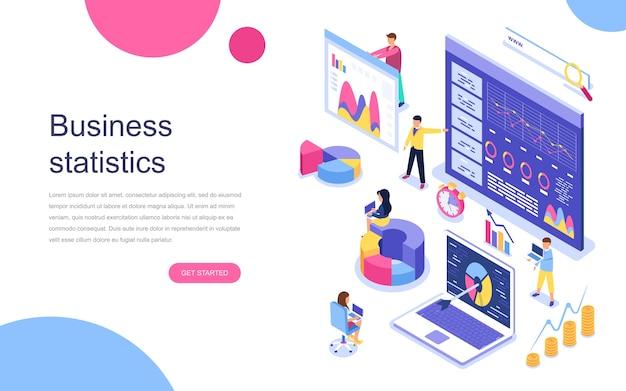 Concepto isométrico de diseño plano moderno de estadística empresarial