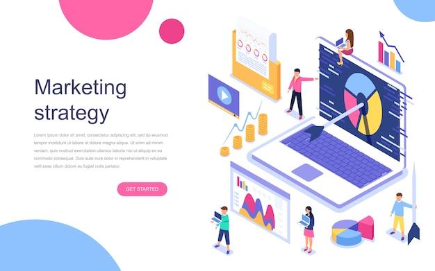 Concepto isométrico de diseño plano moderno de estrategia de marketing