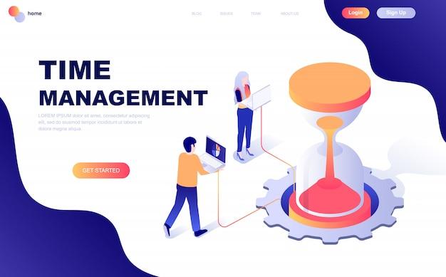 Concepto isométrico de diseño plano moderno de la gestión del tiempo