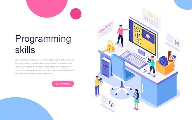 Concepto isométrico de diseño plano moderno de habilidades de programación
