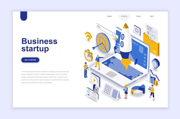 Concepto isométrico del diseño plano moderno del inicio del negocio.
