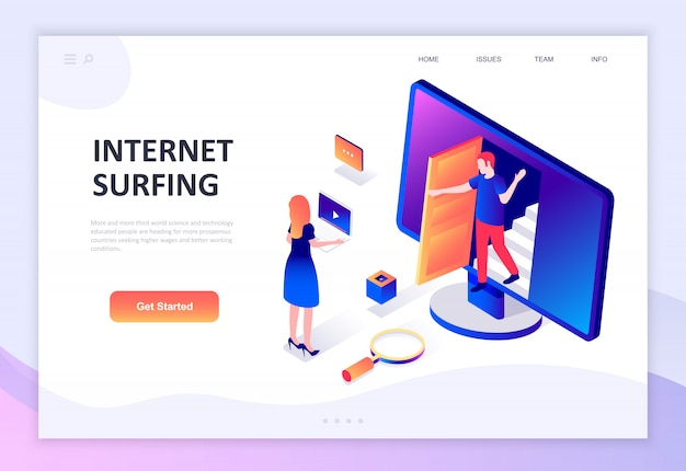 Concepto isométrico de diseño plano moderno de internet surf