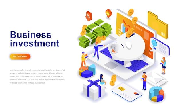 Concepto isométrico del diseño plano moderno de la inversión empresarial.