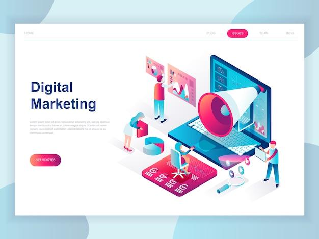 Concepto isométrico de diseño plano moderno de marketing digital