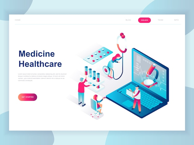 Concepto isométrico de diseño plano moderno de medicina en línea