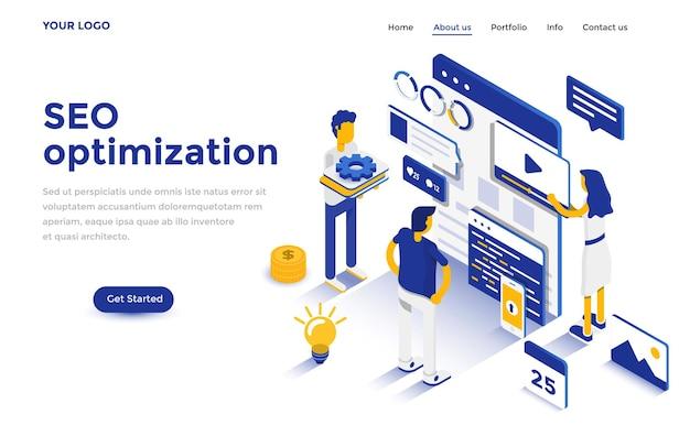 Concepto isométrico de diseño plano moderno de optimización de seo para sitios web y sitios web móviles. plantilla de página de destino. fácil de editar y personalizar. ilustración vectorial