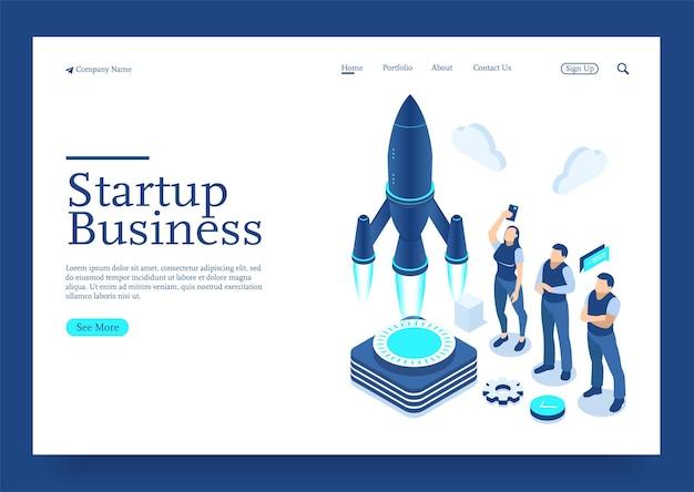 Concepto isométrico de diseño plano moderno de la puesta en marcha de su proyecto para el concepto isométrico del sitio web