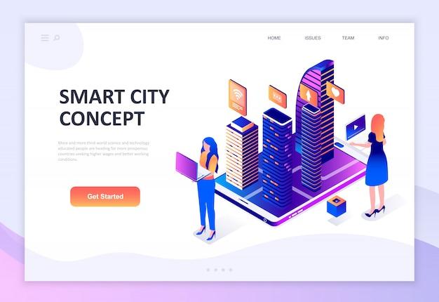 Concepto isométrico de diseño plano moderno de smart city technology