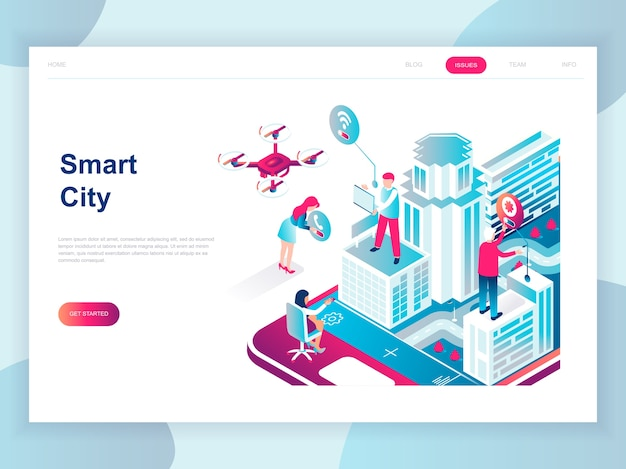 Concepto isométrico de diseño plano moderno de smart city