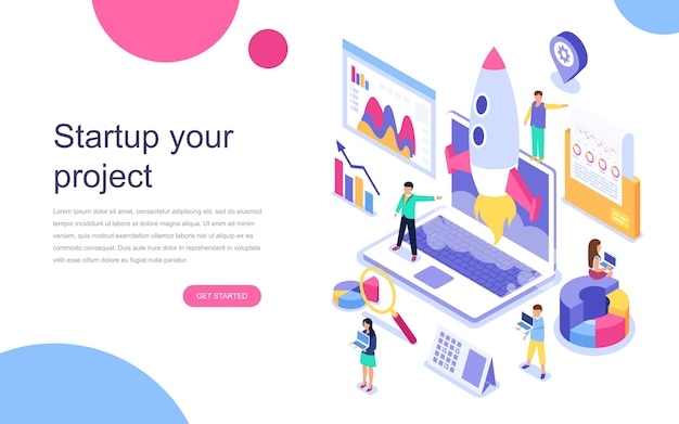 Concepto isométrico de diseño plano moderno de startup your project