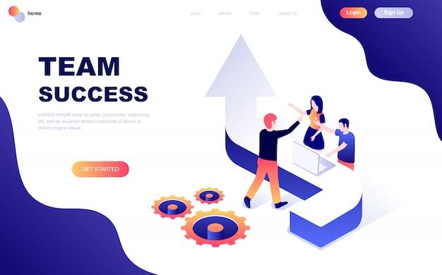 Concepto isométrico de diseño plano moderno de team success
