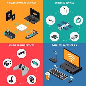 Concepto isométrico de dispositivos electrónicos inalámbricos