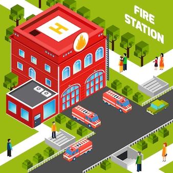Concepto isométrico del edificio de bomberos