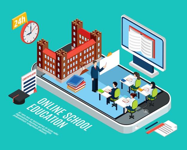 Concepto isométrico de educación escolar en línea con estudiantes en la computadora de la lección y la ilustración de vector 3d de teléfono inteligente