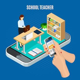 Concepto isométrico de educación en línea con el alumno llamando al maestro de escuela 3d ilustración vectorial