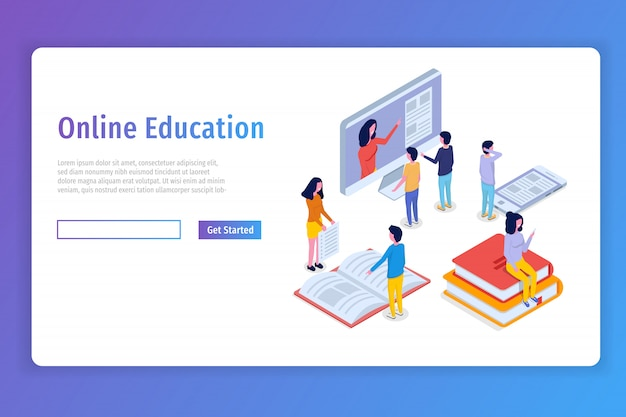 Concepto isométrico de educación en línea, cursos de capacitación. gente isométrica 3d ilustración vectorial