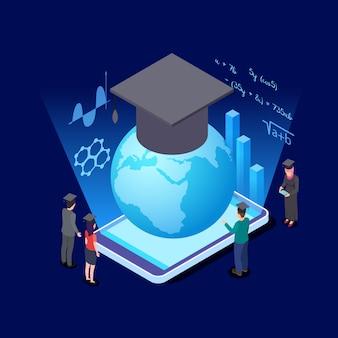 Concepto isométrico de educación mundial. estudiantes internacionales y aplicación de educación para la ilustración de vector de teléfono inteligente
