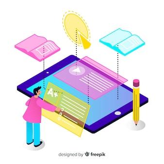 Concepto isométrico de educación online