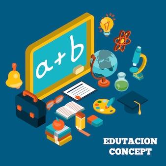 Concepto isométrico de educación