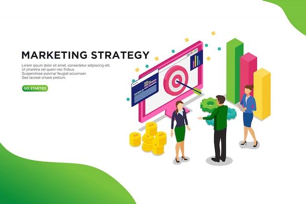 Concepto isométrico del ejemplo del vector de la estrategia de marketing.