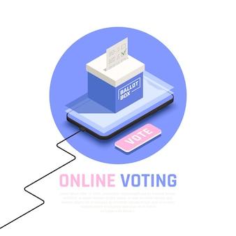Concepto isométrico de elecciones y votación con símbolos de votación en línea