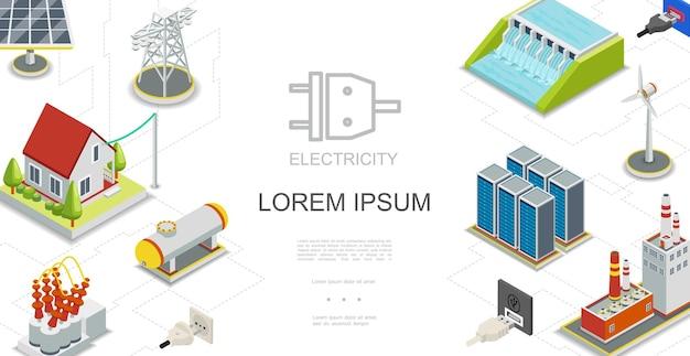 Concepto isométrico de electricidad y energía con centrales hidroeléctricas y de combustible, panel solar, tanque de gas, molino de viento, almacenamiento de energía, transformador eléctrico, torre de transmisión, ilustración