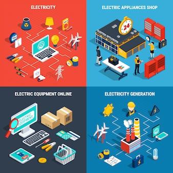 Concepto isométrico de electricidad