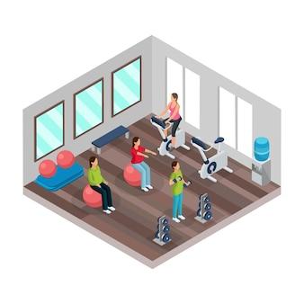 Concepto isométrico de embarazo y fitness con mujeres embarazadas haciendo diferentes ejercicios deportivos en el gimnasio aislado