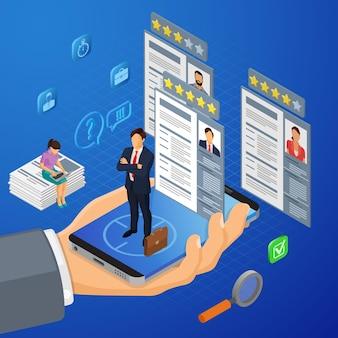 Concepto isométrico de empleo, reclutamiento y contratación en línea. recursos humanos de la agencia de empleo de internet. mano con smartphone, buscador de empleo y currículum. ilustración vectorial