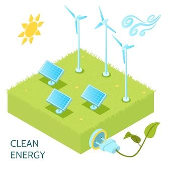 Concepto isométrico de energía limpia con símbolos isométricos de energía solar y eólica.