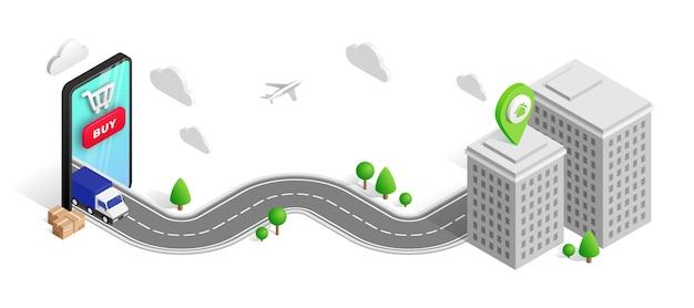 Concepto isométrico de entrega móvil con teléfono, camión, ciudad, camino, edificio aislado en blanco.