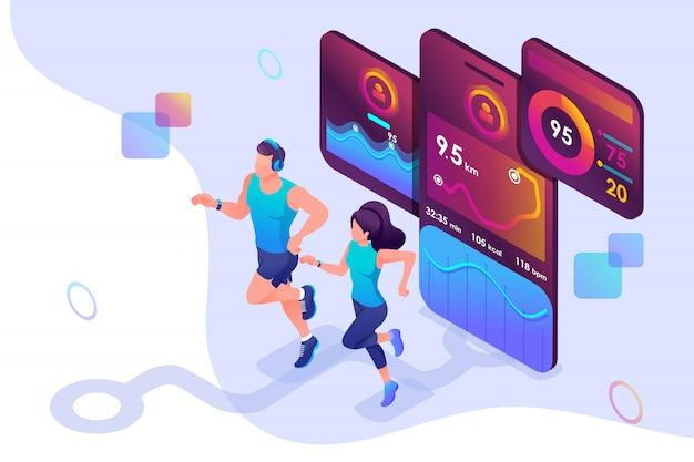 Concepto isométrico entrenar juntos, alcanzar su objetivo utilizando la aplicación móvil para rastrear su actividad.