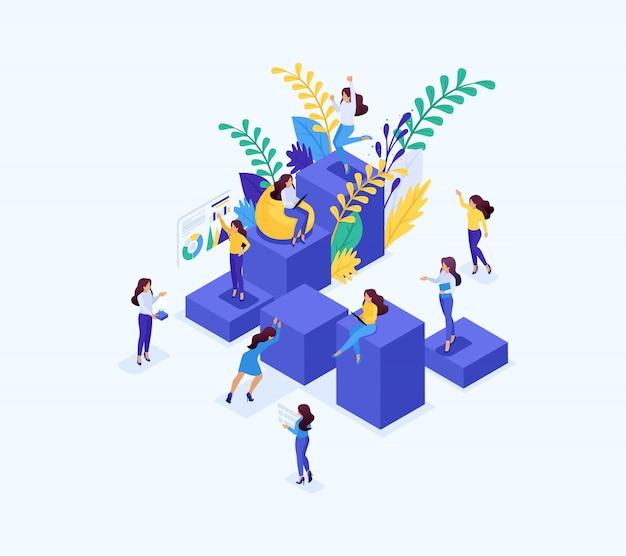 Concepto isométrico escalera de carrera para mujeres, éxito en las grandes empresas. mujer de negocios tiene éxito. concepto para web