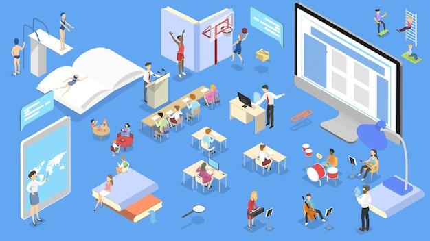 Concepto isométrico de la escuela. los niños estudian y obtienen educación y conocimientos. ilustración isométrica
