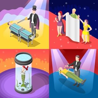 Concepto isométrico del espectáculo de magia con escape de la cámara de agua cerrada, truco con aserrado, levitación, ilustración aislada