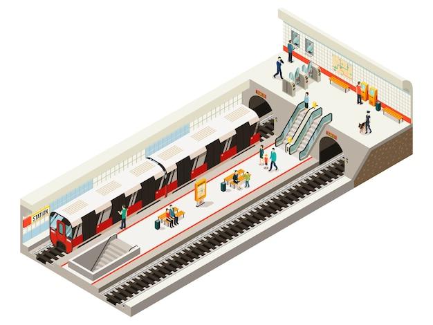 Concepto isométrico de la estación de metro con boletos de tren, tablero de información, escaleras mecánicas, bancos de ferrocarril, pasajeros en la plataforma aislada