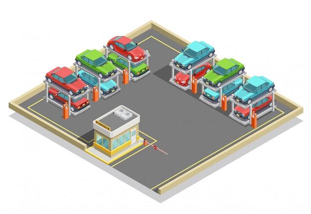 Concepto isométrico de estacionamiento automático