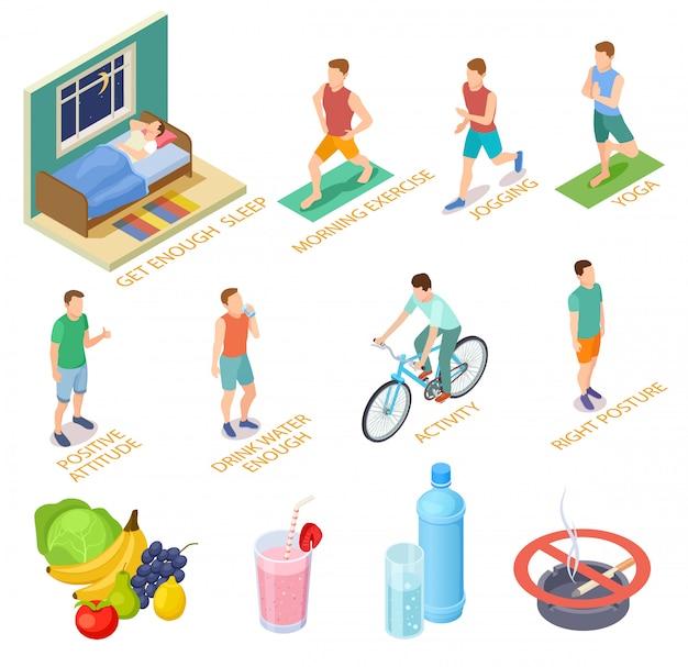 Concepto isométrico de estilo de vida saludable. ejercicios regulares, control médico, dieta, nutrición.